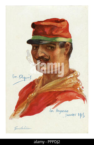 French historical postcard: Portrait of an Italian volunteer Garibaldi in a red shirt and cap, smoking a cigarette. world war one 1914-1918. Italy - Stock Photo