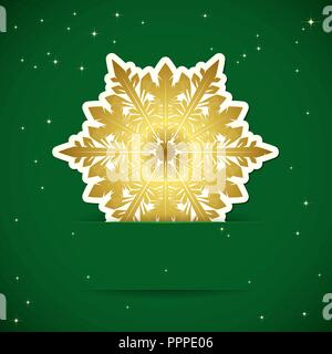 Christmas background. Snowflake inserted into a slot on the paper card. Vector illustration. - Stock Photo
