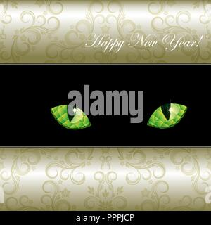 Festive background with curious emerald eyes of a cat. Vector illustration. - Stock Photo