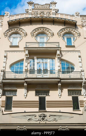 Riga architecture, a Jugendstil style building designed by Mikhail Eisenstein in Alberta Iela in the Art Nouveau district of Riga, Latvia. - Stock Photo