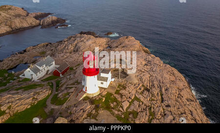 Lighthouse, Cape Lindesnes, Vets-Agder, Norway - Stock Photo