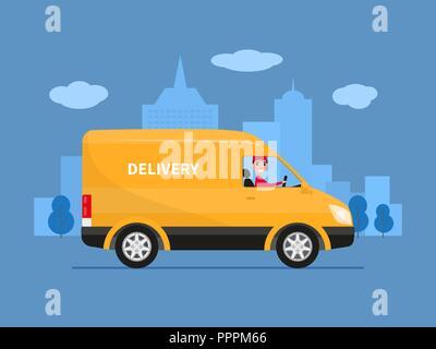Vector cartoon delivery van with deliveryman - Stock Photo