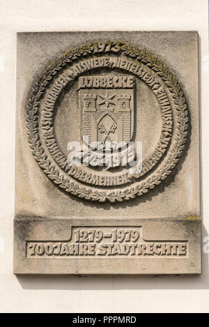 city coat of arms, old city hall, Luebbecke, Minden-Luebbecke, Minden, East Westphalia-Lippe, North Rhine-Westphalia, Germany - Stock Photo