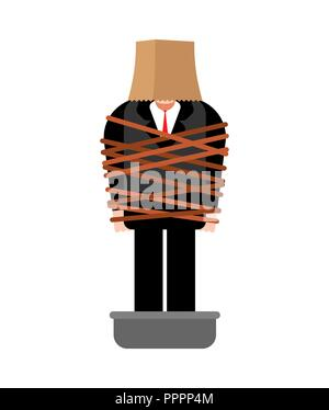 Mafia victim. Man tied up with rope Cement shoes. pelvis with concrete. gangster prey - Stock Photo