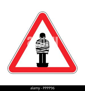 Attention Mafia victim. Caution gangster prey. Red road sign. Man tied up with rope Cement shoes. Warning Criminals - Stock Photo