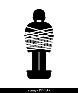 Mafia victim icon. Man tied up with rope Cement shoes. pelvis with concrete. gangster prey - Stock Photo