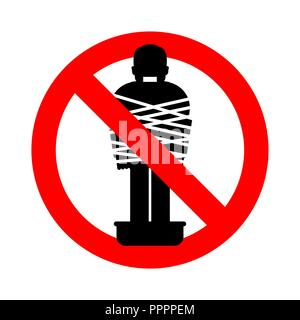 Stop Mafia victim. Ban gangster prey. Forbidden Red road sign. Man tied up with rope Cement shoes. pelvis with concrete. Warning Criminals - Stock Photo
