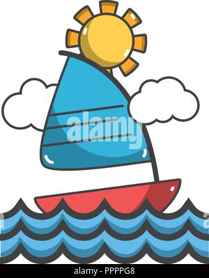 Sail boat on summer - Stock Photo