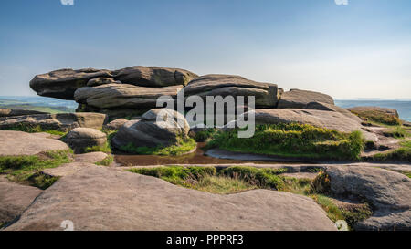 On top of Stanage Edge near Hathersage in the East Midlands, Peak District, Derbyshire, England, UK - Stock Photo