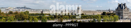 Large panoramic view of Paris from Musee d'Orsay rooftop - Stock Photo