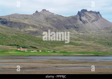 Typical Iceland landscape with farms - Stock Photo