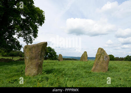 The Grey ladies stone circle in the Peak District Derbyshire - Stock Photo