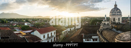 Sunset panorama at the Iglesia la Merced, Granada, Nicaragua - Stock Photo