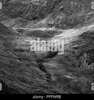 Black and white Beautiful detail landscape image of mountain of Tryfan near Llyn Ogwen in Snowdonia during early Autumn - Stock Photo