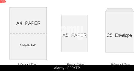 c4 blank mockup white letter paper envelope vector template of a4