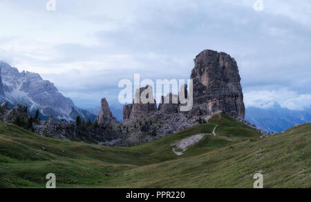 Cinque Torri, Italian dolomites, panoramic view of the famous five towers of the rock complex in Veneto, Italy. European Alps - Stock Photo