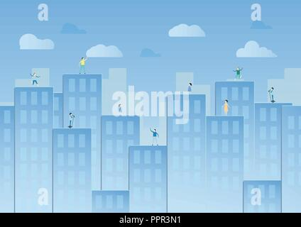 Blue sky with cloud and urban buildings. Vector illustration design in paper cut. Flat city. - Stock Photo