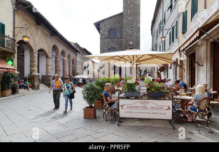 Montalcino Italy, people in the town centre, Piazza del Popolo, Montalcino Tuscany Italy Europe - Stock Photo