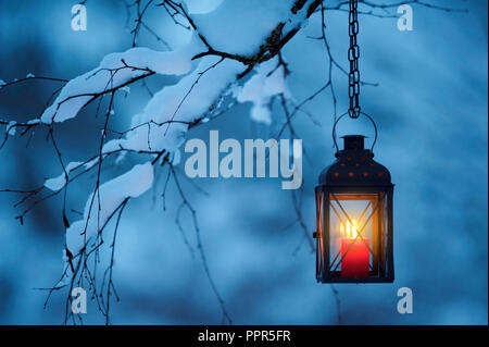 Candle lantern hanging from snowy tree branch at dusk. Christmas time. - Stock Photo
