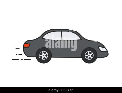 Car flat icon. Side view. Vector illustration - Stock Photo