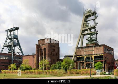 Zeche Ewald, industrial buildings and the former coal mine shaft towers, Herten, Ruhrgebiet, Germany - Stock Photo
