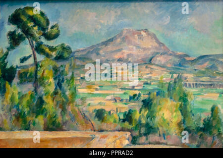 'Montagne Sainte-Victoire' painting by Paul Cézanne.Musée d'Orsay, Paris, France - Stock Photo