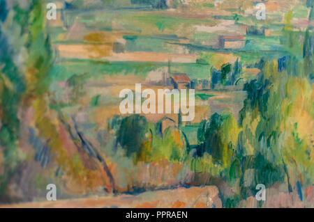 Detail of the 'Montagne Sainte-Victoire' painting by Paul Cézanne.Musée d'Orsay, Paris, France - Stock Photo