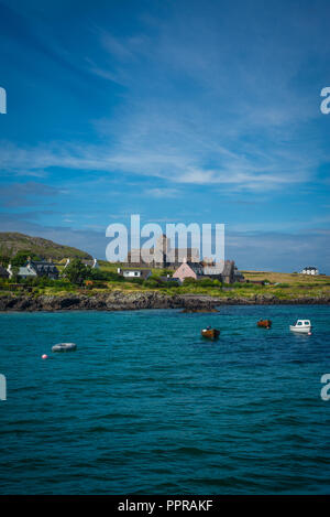 Iona Abbey on the Island of Iona, Inner Hebrides, Scotland, UK - Stock Photo