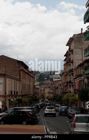COSENZA, ITALY - JULY 17, 2018: Street view from Piazza della Riforma towards the Sila National Park. - Stock Photo