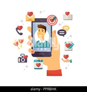 Online dating app - modern vector colorful illustration - Stock Photo