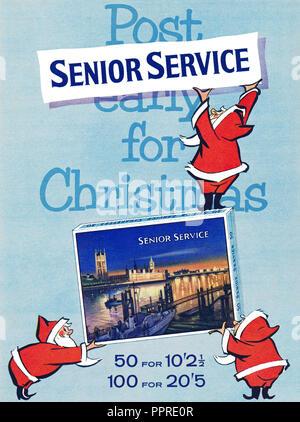 1960 British Christmas advertisement for Senior Service cigarettes. - Stock Photo
