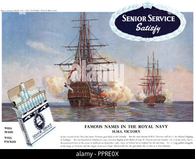 1960 British advertisement for Senior Service cigarettes. - Stock Photo