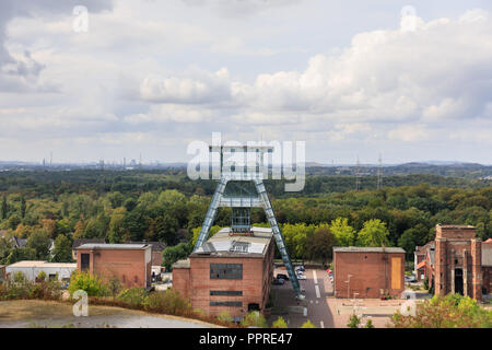 Zeche Ewald panoramic view from above, industrial buildings and the former coal mine shaft tower, Herten, Ruhrgebiet, Germany - Stock Photo