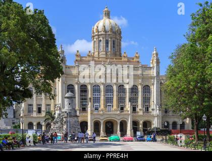 Museum of the Revolution (Museo de la Revolucion), restored historic building exterior and Plaza 13 de Marzo square in front in Habana Vieja, Havana,  - Stock Photo