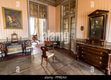 Queluz, Portugal - December 9, 2017: Apartments of Princess in Queluz Royal Palace. Formerly used as the Summer residence by the Portuguese royal fami - Stock Photo