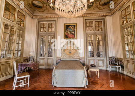 Queluz, Portugal - December 9, 2017: Apartments of Princess, Bedroom in Queluz Royal Palace. Formerly used as the Summer residence by the Portuguese r - Stock Photo