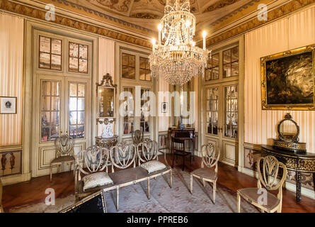 Queluz, Portugal - December 9, 2017: Rooms of the Princess in Queluz Royal Palace. Formerly used as the Summer residence by the Portuguese royal famil - Stock Photo