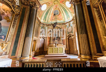 Queluz, Portugal - December 9, 2017: Chapel of Queluz Royal Palace. Formerly used as the Summer residence by the Portuguese royal family. - Stock Photo