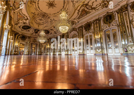 Queluz, Portugal - December 9, 2017: The Ballroom, rich decorated of Queluz Royal Palace. Formerly used as the Summer residence by the Portuguese roya - Stock Photo