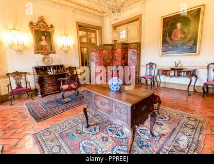 Queluz, Portugal - December 9, 2017: Room Inside of rich decorated Queluz Royal Palace. Formerly used as the Summer residence by the Portuguese royal  - Stock Photo