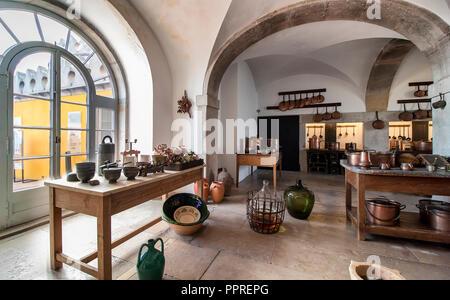 Sintra, Portugal - December 7, 2017: kitchen inside the Romanticist Pena Palace - Stock Photo