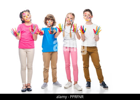 friends showing painted hands with smiley icons isolated on white
