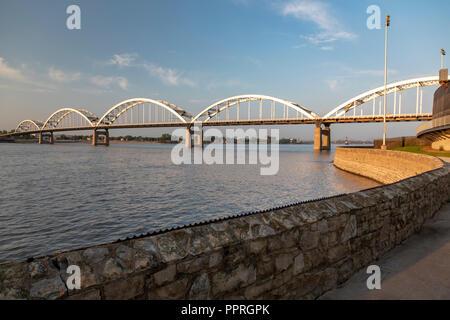 Davenport, Iowa - The Rock Island Centennial Bridge connects Davenport, Iowa (foreground) with Rock Island, Illinois across the Mississippi River. - Stock Photo