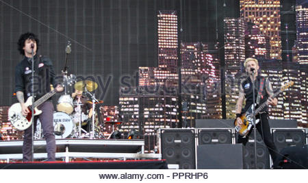 Green Day bring their tour to the Lancashire County Cricket Club in Manchester on Wednesday 16 June 2010 - Stock Photo