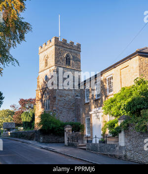 St Martin's parish church and cottage in the village of Sandford St. Martin, Oxfordshire, England, UK - Stock Photo