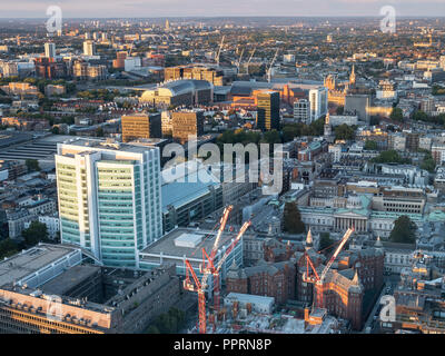 23rd September 2018, Open House London, BT Tower observation platform, looking east along the Euston Road with UCL Hospital & Kings Cross in the view - Stock Photo