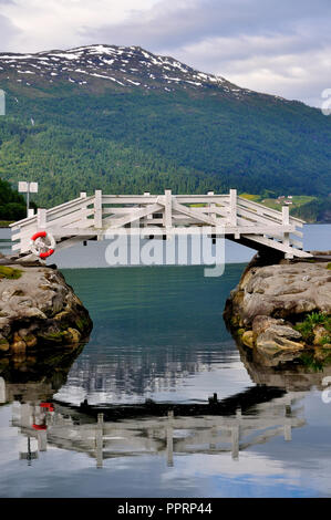 views of the loen village in norway with its fjord - Stock Photo