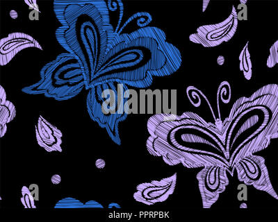 Floral seamless background pattern with fantasy flowers, leaves and butterflies. Line art. Embroidery flowers. Vector illustration. - Stock Photo