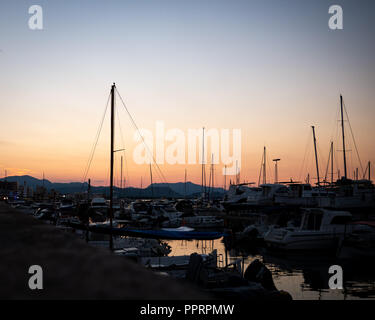 Can Picafort Harbour, Mallorca, Balearic Islands Spain. - Stock Photo