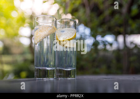 Sparkling gin tonic in long drink glasses in the garden on a nice summer day. - Stock Photo